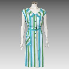 Vintage 1960s Kay Whitney Spring Summer Blue White Green Vertical Striped Day Dress Volup XL