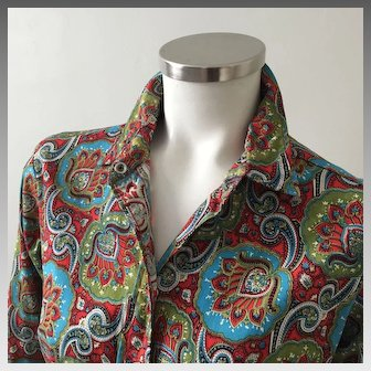 Vintage 1960s Turquoise Red Green Paisley Models Coat by Swirl M