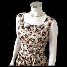 Vintage 1960s Brown and White Floral Print Cocktail Dress M