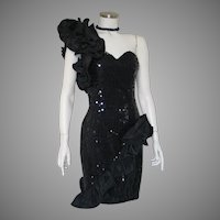 Vintage 1980s Black One Shouldered Asymmetrical Sequined Cocktail Party Event Soiree Dress S