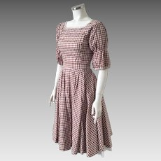 Vintage 1960s Brown and White Gingham 2 Piece Dress Set Circle Skirt Western Top S