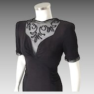 Vintage 1940s Little Black Dress with Gorgeous Illusion Neckline and Sequin Trim M