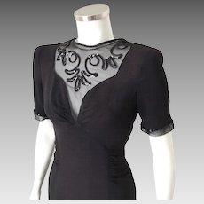 Vintage 1940s Little Black Dress with Gorgeous Illusion Neckline and Sequin Trim M