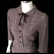 Vintage 1940s Brown Gray Plaid Dress by Cay Artley M