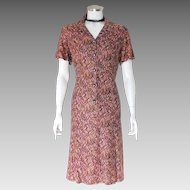 Vintage Late 1950s Judy R by Reiner Slinky Dress Mauve Black Gold Maroon  M L