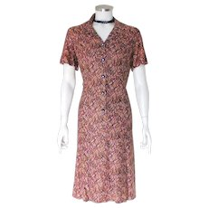 Vintage Late 1950s Judy R by Reiner Slinky Dress Mauve Black Gold Maroon  M L