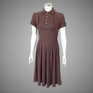 Vintage 1950s Kaytron Brown Rayon Tuxedo Shelf Bust Dress with Piped Trim S