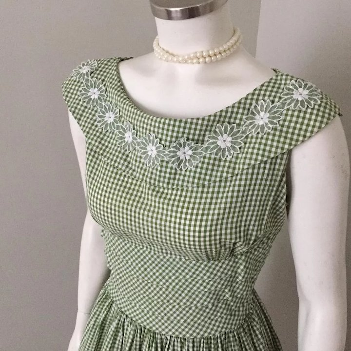 373182907 Vintage 1960s Olive Green and White Gingham Day Dress Vicky Vaughn Jr M