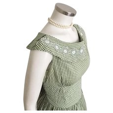 Vintage 1960s Olive Green and White Gingham Day Dress Vicky Vaughn Jr M