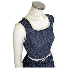 Vintage 1950s Sheer Lightweight Spring Summer Navy Blue Crinkle Plissé Dress XS S