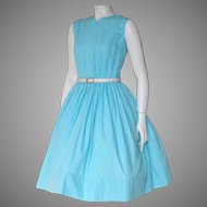 Vintage 1960s Turquoise Blue Fit and Flare Sleeveless Day Dress S M