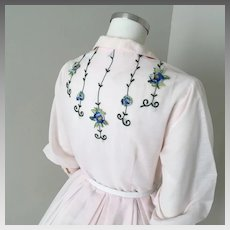Vintage 1960s Sheer Pink Fit and Flare Shirtwaist Dress with Blue and Green Embroidered Floral Trim on Back M