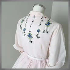 Vintage 1960s Sheer Pink Fit and Flare Shirtwaist Dress with Embroidered Floral Trim M