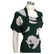 Vintage 1940s Deep Forest Green Draped Dress with White and Gray Mum Floral Print  M L