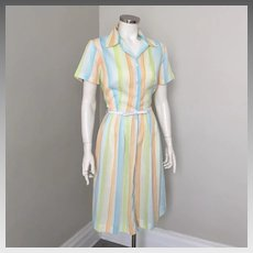 Vintage 1960s Summer Sherbet Rainbow Striped Day Dress M