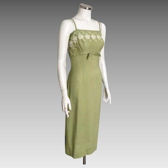 Vintage 1960s Border Embroidered Empire Cut Sundress Dress of Olive Green Linen by Ellen Kaye M