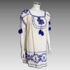 Vintage 1970s Cotton Muslin Peasant Mini Dress with Royal Blue Embroidery Trim M L