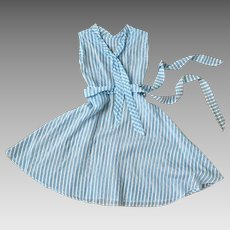 Vintage 1950s Turquoise and White Striped Sheer Dress with Belt XS