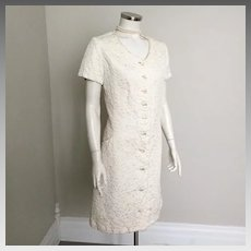 Vintage 1980s Creamy White Princess Seamed Matelassé Mini Dress M