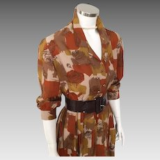 Vintage 1960s Autumn Toned Brown Abstract Roses Watercolor Print Dress  M L