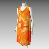 Vintage 1970s Orange and Yellow Abstract Aloha Print Shift Tiki Dress Muu Muu by Liane of Hawaii M