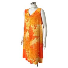 Vintage 1970s Orange and Yellow Abstract Aloha Print Shift Tiki Dress Muu Muu by Liane of Hawaii M