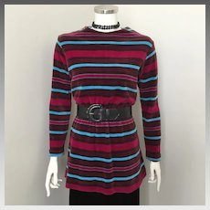 Vintage 1970s Jane Colby Velour Tunic Micro Mini Dress M