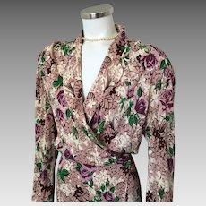 Vintage 1940s Mauve Plum Cream Brown Green Floral Rayon Long Sleeve Wrap Lounger  XL Volup