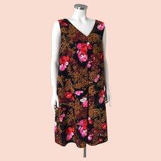 Vintage 1970s Dark Floral Aloha Shift Dress with  V Neckline M L