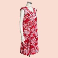 54ea6e128be2 Vintage 1970s Red and White Floral Print Aloha Muu Muu Dress by Andrade of  Honolulu M