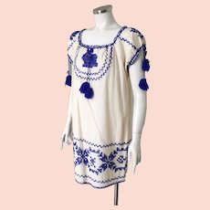 Vintage 1970s Cotton Muslin Peasant Mini Dress with Royal Blue Embroidery Trim M L