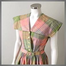 Vintage 1960s Coral Olive Gray Plaid Dress with Enormous Collar