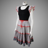 Vintage 1970s Black White Calico Print Red Trim Peasant Prairie Country Dress S M