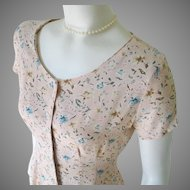 Vintage 1990s Spring Pastel Peach Sage Blue Tiny Floral Print Baby Doll Tie Back Dress M