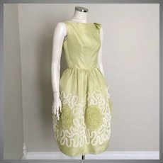 Vintage 1960s Light Chartreuse Party Dress with Lace Covered Skirt and Built In Crinoline S