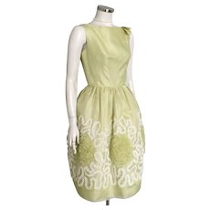 Vintage 1960s Light Chartreuse Green Party Dress with Lace Covered Skirt and Built In Crinoline S