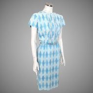 Vintage 1960s Blue and White On Sky Blue Harlequin Scroll Print Sheath Dress M