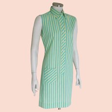 Vintage 1960s Yellow Turquoise Striped Shift Shirt Dress by Terry M