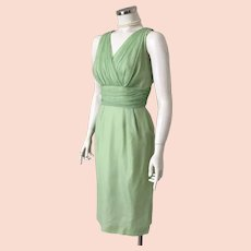 Vintage 1960s Sheer Pistachio Pale Green Chiffon Cocktail Dress S