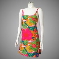 Vintage 1960s Cole of California Psychedelic Bright Sundress XS S