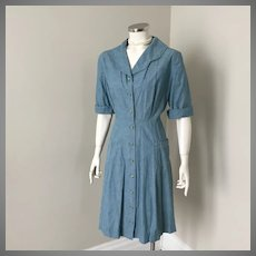 Vintage 1960s Green Girl Scout Leader Dress L B42 W34