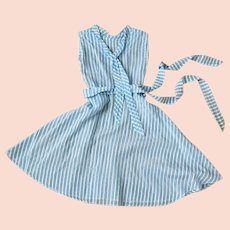 Vintage 1950s Sheer Turquoise and White Striped Summer Dress with Belt XS B32