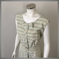 Vintage 1950s Tiny Flowers Look Like Dots Green Peach on Cream Dress by Pat Perkins XL B46 W36