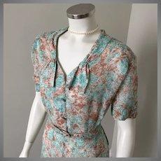 1950s Vintage Sheer Summer Dress Munves Dallas XL Bust 48