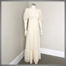 Vintage 1970s Cream Prairie Dress Deep Ruffle Hem Lace Trim S