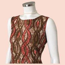 1960s Vintage Brown Orange Abstract Batik Shift Dress by Lenbarry Casual M