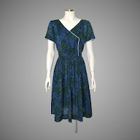 1960s Vintage Blue Green Plaid Fit and Flare Dress M