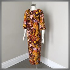 1960s Vintage Exotic Floral Print Maxi Dress Muu Muu with Bell Sleeves M