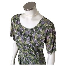 1960s Vintage Gray Green Abstract Floral Print Slinky Dress L B46