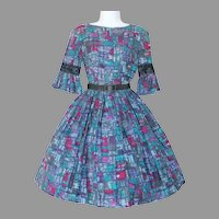 Vintage 1960s Abstract MCM Print Day Dress in Purples and Blues XS
